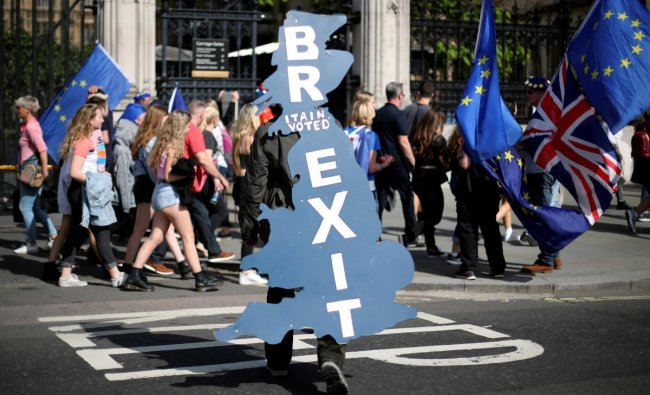 A pro-Brexit supporter is seen outside Parliament in London, Britain, June 17, 2019. (REUTERS/Hannah McKay/File Photo)