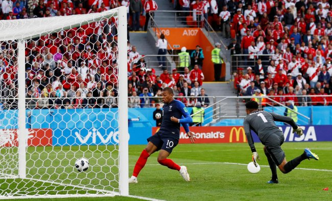 France\'s Kylian Mbappe scores their first goal REUTERS