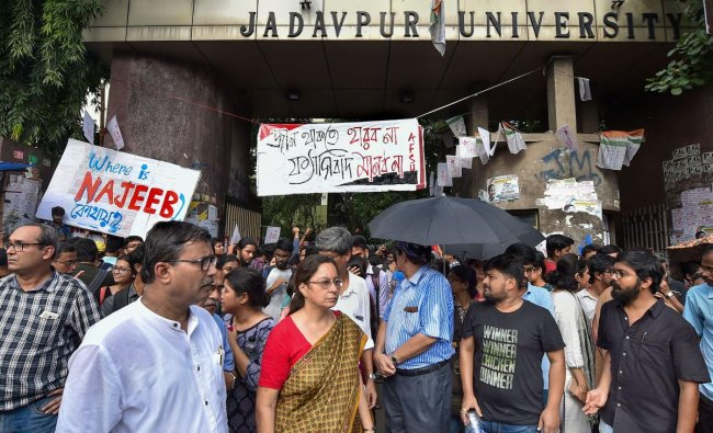 Faculty of Jadavpur University and students stand guard infront of the University gate during Akhil Bharatiya Vidyarthi Parishad (ABVP)\'s march in protest against attack on Central Minister Babul Supriyo at Jadavpur University on Sept. 19, in Kolkata, Monday, Sept. 23, 2019. PTI Photo