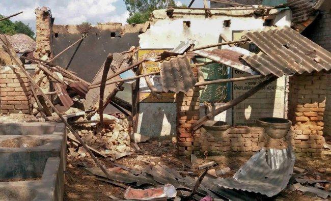 Birbhum: A view of damaged residence of TMC Panchayat Pradhan of Sahapur Haitunnesha Khatun, after explosion of crude bombs, at Renguni village in Birbhum, Thursday, Aug 29, 2019. (PTI Photo)