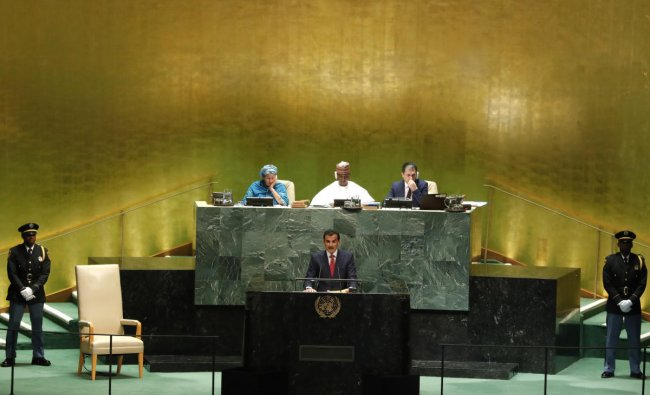 Qatar\'s Emir Sheikh Tamim bin Hamad al-Thani addresses the 74th session of the United Nations General Assembly at U.N. headquarters in New York City, New York, U.S., September 24, 2019. REUTERS/Lucas Jackson