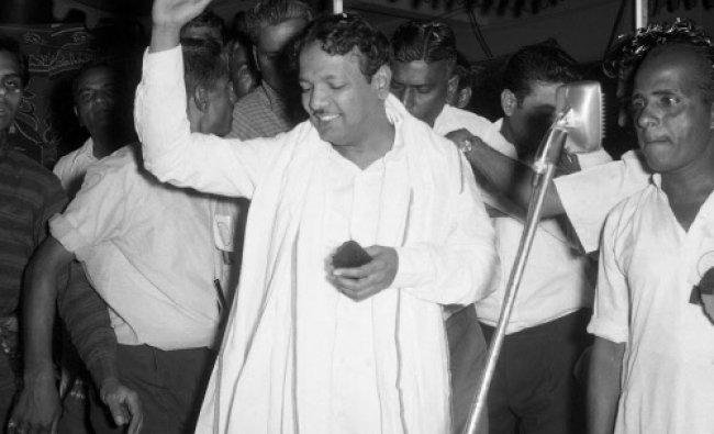 M Karunanidhi at a public meeting organised by Tamil Sangham in Bangalore in 1969.
