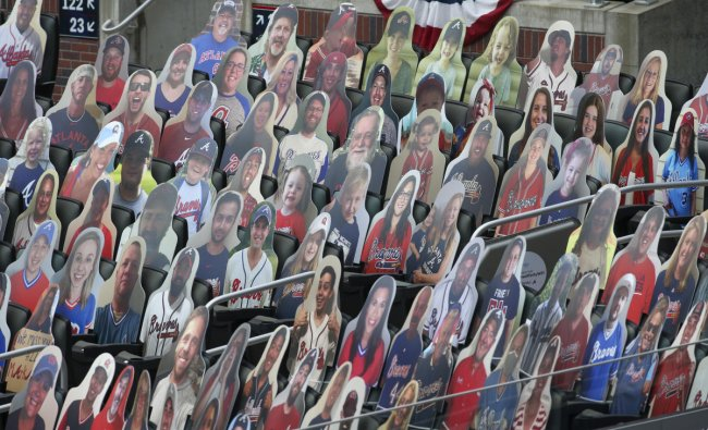 General view of cardboard cutouts of Atlanta Braves fans in the stands before a game against the Tampa Bay Rays at Truist Park. Credit: Brett Davis-USA TODAY Sports