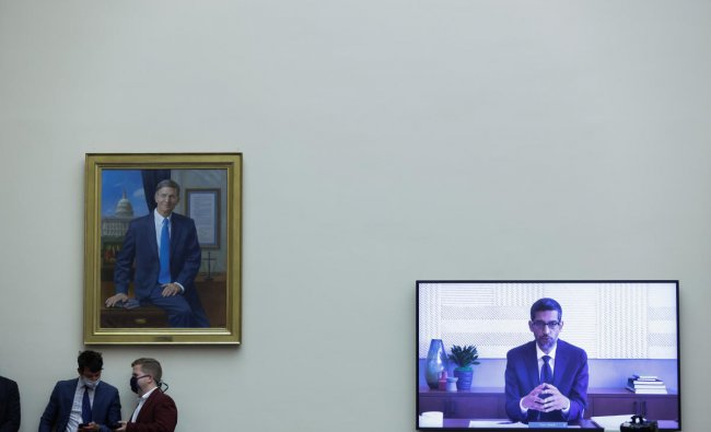 Google CEO Sundar Pichai speaks via video conference before the House Judiciary Subcommittee on Antitrust, Commercial and Administrative Law on \
