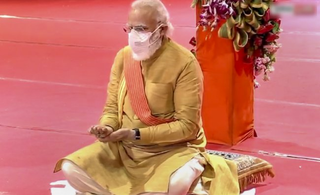 Prime Minister Narendra Modi during the Bhoomi Pujan for the construction of Ram Temple
