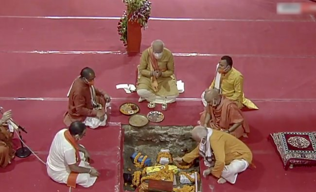 Ayodhya: Prime Minister Narendra Modi along with RSS Chief Mohan Bhagwat, Uttar Pradesh Governor Anandiben Patel, Chief Minister Yogi Adityanath and others during the Bhoomi Pujan