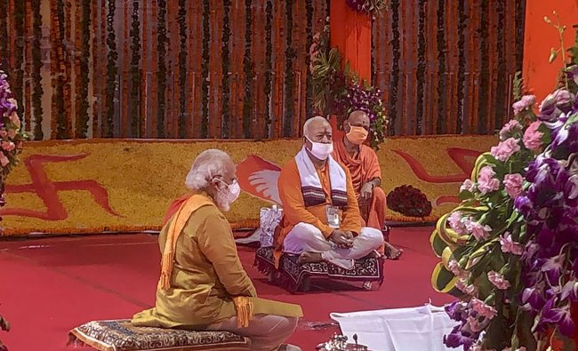 Prime Minister Narendra Modi along with RSS Chief Mohan Bhagwat during the Bhoomi Pujan