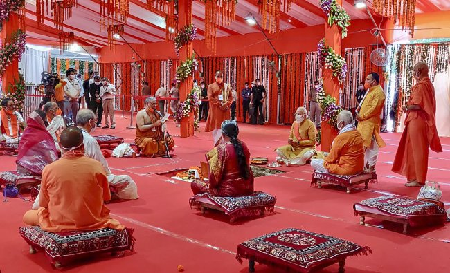 rime Minister Narendra Modi along with RSS Chief Mohan Bhagwat, Uttar Pradesh Governor Anandiben Patel, Chief Minister Yogi Adityanath and others during the Bhoomi Pujan