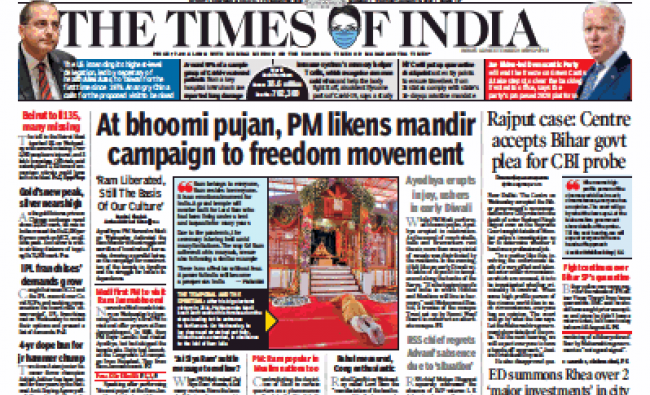 The Times of India says, \