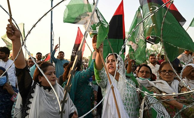 Activists of the newly-formed Pakistan Democratic Movement (PDM), an opposition alliance of 11 parties, shout slogans during the first public rally in the eastern city of Gujranwala. Credit: AFP Photo