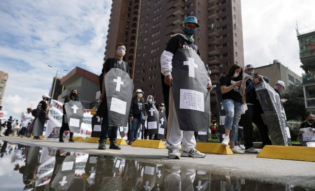 Workers and students participate in aprotestagainst the social and economic policies of Colombia\'s President Ivan Duque, in Bogota, Colombia. Credit: Reuters Photo