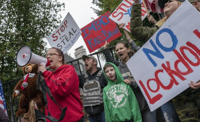 Protesters angered by lockdown measures and the presidential election results rallied for the third consecutive weekend in the state\'s capitol. Credit: AFP Photo
