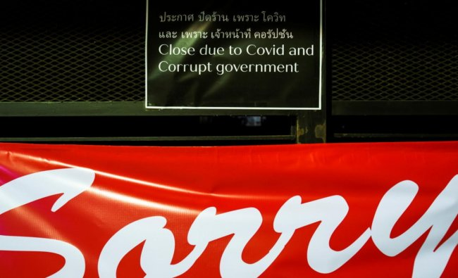 A sign is seen in front of a closed bar at Walking Street amid fears of the coronavirus disease (Covid-19) outbreak in Pattaya, one of the city\'s top tourist spots in Thailand. Credit: Reuters.