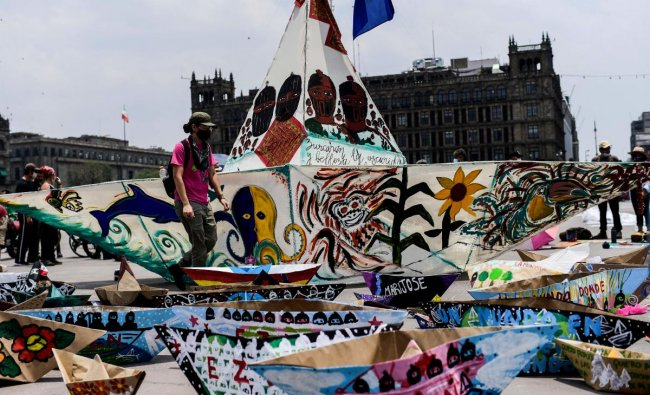 View of boats made of wire structure and paper as activists take part in a cultural and informative event about the delegation of the Zapatista Army of National Liberation (EZLN) former guerrilla, which will depart on the \