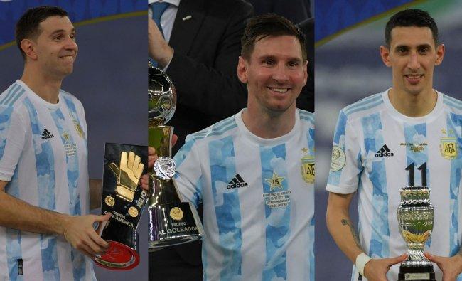 Emiliano Martínez ganó el Guante de Oro, Messi ganó el Premio al Máximo Goleador y La María ganó el MVP del Partido.  Crédito: AFP Photo