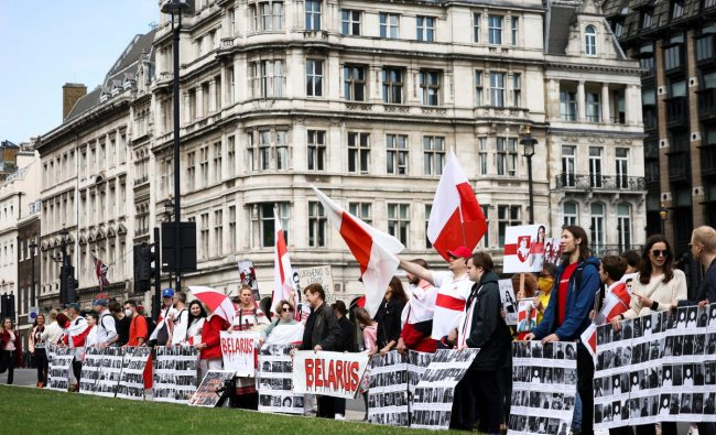 Demonstrators gather on Parliament Square for the Global Solidarity Event for Belarus protest in London. Credit: Reuters Photo