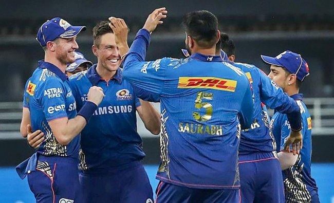 Trent Boult of Mumbai Indians (MI) celebrates the wicket of Faf du Plessis of Chennai Super Kings (CSK). Credit: PTI Photo