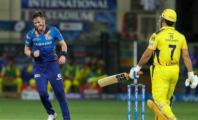 Adam Milne of Mumbai Indians (MI) celebrates the wicket of MS Dhoni of Chennai Super Kings (CSK). Credit: PTI Photo