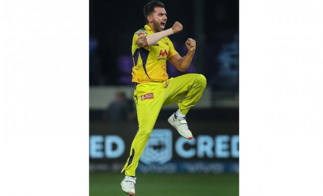 Deepak Chahar of Chennai Super Kings (CSK) reacts after taking a wicket during their IPL 2021 cricket match against Mumbai Indians (MI). Credit: PTI Photo