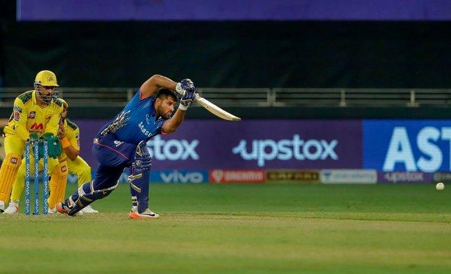 Saurabh Tiwary of Mumbai Indians (MI) plays a shot during their IPL 2021 cricket match against Chennai Super Kings (CSK). Credit: PTI Photo