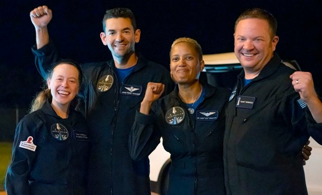 Passengers aboard a SpaceX capsule, from left to right, Hayley Arceneaux, Jared Isaacman, Sian Proctor and Chris Sembroski pose after the capsule was recovered following its splashdown in the Atlantic off the Florida coast. The all-amateur crew was the first to circle the world without a professional astronaut. Credit: AP/PTI