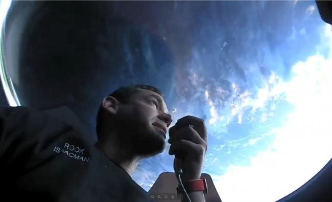 Inspiration4 crew member Jared Isaacman seen on their first day in space. Credit: SpaceX/Handout via Reuters