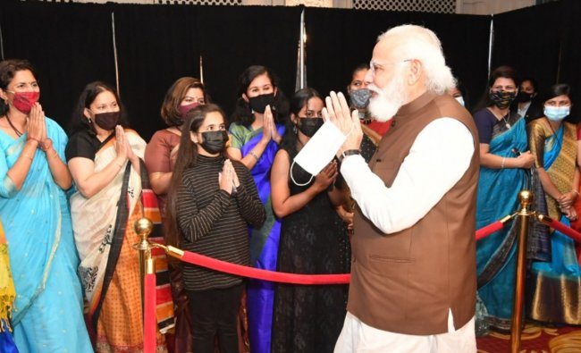 He commended Indian Diaspora for distinguishing itself across the world as he received a warm welcome from the community on his arrival. Credit: Twitter/@narendramodi