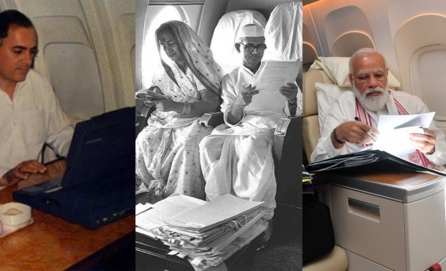 Pics of Indian Prime Ministers working on flight over the years