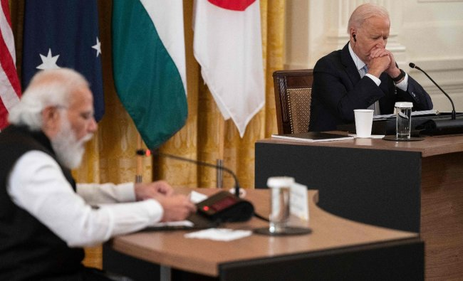 After the bilateral meeting, PM Modi said that US President Biden\'s leadership on critical global issues is commendable and India and the US would work together to overcome key challenges like Covid-19 and climate change. Credit: AFP Photo