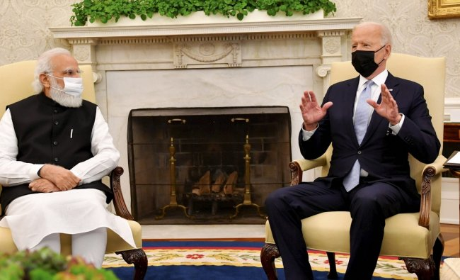 In the meeting with US President Joe Biden, PM Modi praised him for his efforts in combating the Covid-19 pandemic, climate change, and promoting Quad. Credit: PTI Photo