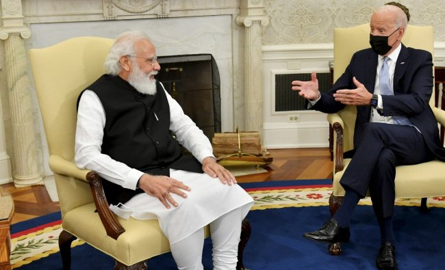 """Modi also recalled his interactions with Biden in 2014 and 2016, saying """"that time you had shared your vision for ties between India and US. I am glad to see you are working to realise this vision\"""