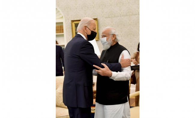 President Biden welcomed PM Modi in the Oval Office of the White House. Credit: PTI Photo