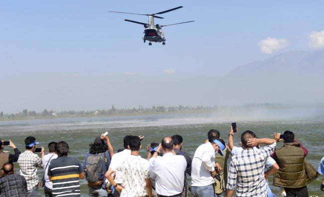 The main aim of the show, under the theme of \'Give Wings to Your Dream\', was to raise awareness among the youth of the Kashmir Valley and motivate them to join the Indian Air Force and to promote tourism in the region. Credit: PTI Photo