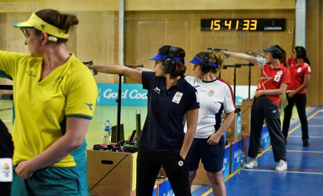 India\'s Heena Sidhu competes in the Women's 25m Pistol final event during the Commonwealth Games 2018, at Belmont Shooting Centre in Brisbane, Australia on Tuesday. PTI Photo
