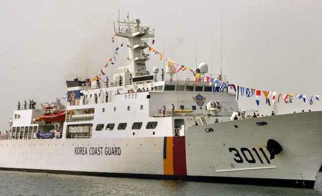 Korean Coast Guard ship Badaro 3011, commanded by Superintendent Oh Taeog, arrives to participate in the Indo-Korea Joint Exercise 2018, at the Chennai port. PTI Photo