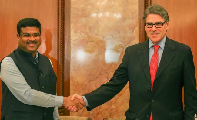 Union Minister for Petroleum & Natural Gas and Skill Development & Entrepreneurship, Dharmendra Pradhan along with the Secretary of Energy, US, Rick Perry before briefing the media on Indo-US Energy relations, in New Delhi on Tuesday. PTI
