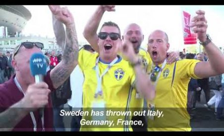 Sweden fans celebrate place in quarters