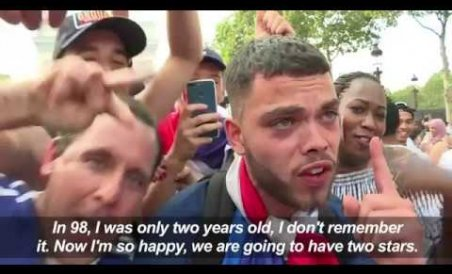 Fans react to France WC victory on the Champs-Elysées