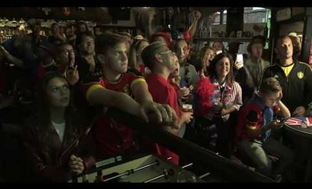France and Belgium border fans watch match together