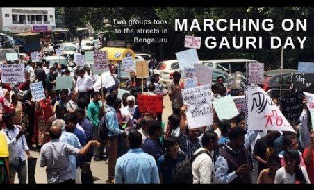 Two Groups March on Gauri Day