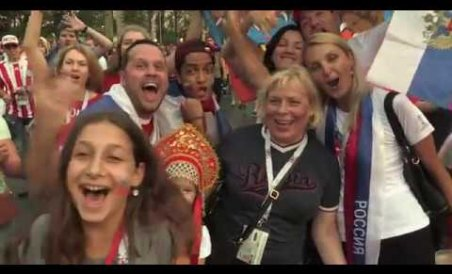 Russia fans sing with joy, Spain fans accept defeat