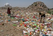 A rag-pickers collect reusable material from a garbage dumping site on the outskirts of Jammu on Sunday. This year's Earth Day theme focuses on 'Ending Plastic Pollution'. It is devoted to contribute information and inspire to change human attitude and behaviour about plastics. PTI Photo