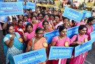 A rally organised by the Election Commission on Thursday to raise awareness among voters in Jayanagar. DH Photo/S K Dinesh