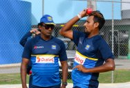 Suranga Lakmal (right) will lead Sri Lanka in the third Test against West Indies after regular captain Dinesh Chandimal for tampering the ball. AFP