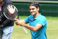 Roger Federer of Switzerland celebrates after defeating US' Denis Kudla in the Halle Open semifinal on Saturday. AFP