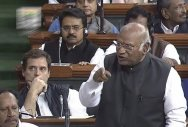 Kharge protests in Lok Sabha