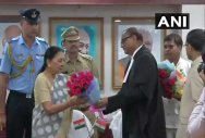 Chhattisgarh High Court Chief Justice Ajay Kumar Tripathi administered the oath of office to Patel during a simple function at the Raj Bhawan. Image courtesy ANI/Twitter.