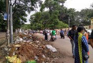 Garbage sorting yard at main road leaves area in a mess