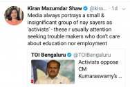 Kiran Mazumdar-Shaw's tweet draws KDA's wrath