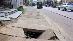 Broken footpaths in city inconvenience pedestrians